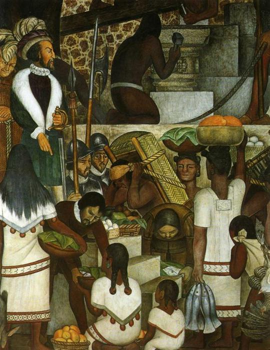 History of Cuernavaca and Morelos. Building the Cortes Palace, Oil by Diego Rivera (1886-1957, Mexico)