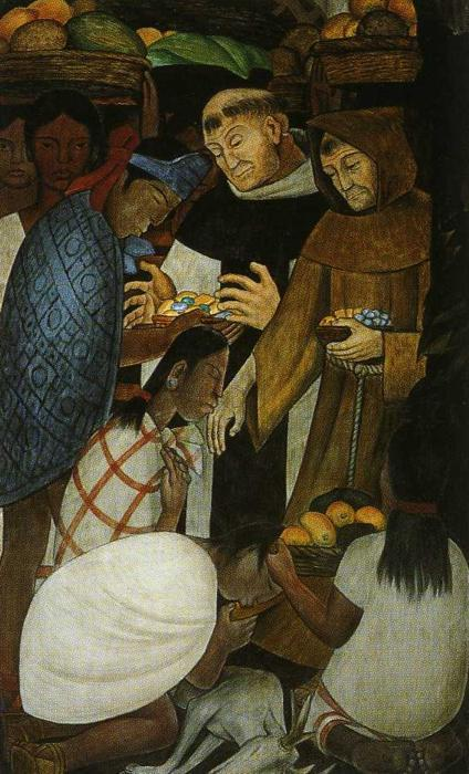 History of Cuernavaca and Morelos. The New Religion and the Inquisition, Oil by Diego Rivera (1886-1957, Mexico)