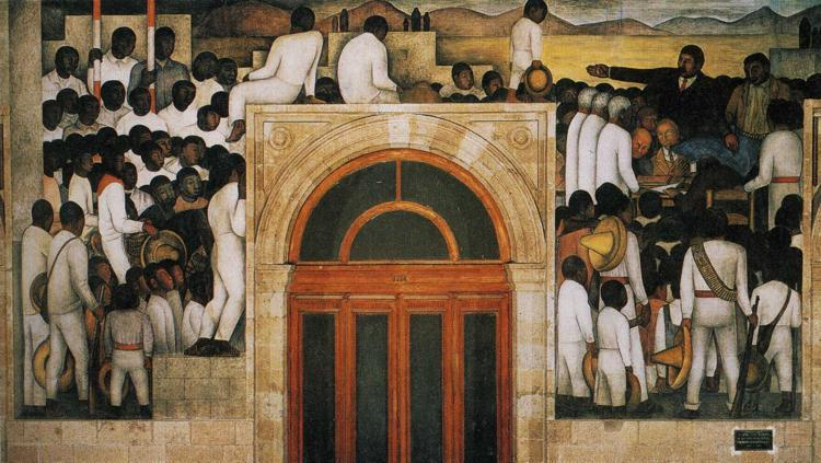 Land and Freedom, Oil by Diego Rivera (1886-1957, Mexico)