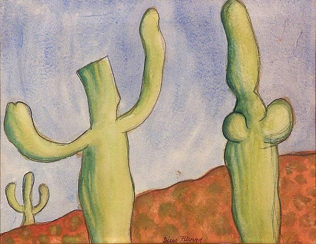 Landscape with Cacti 1, Oil by Diego Rivera (1886-1957, Mexico)