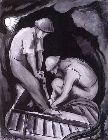 Miners, Oil by Diego Rivera (1886-1957, Mexico)