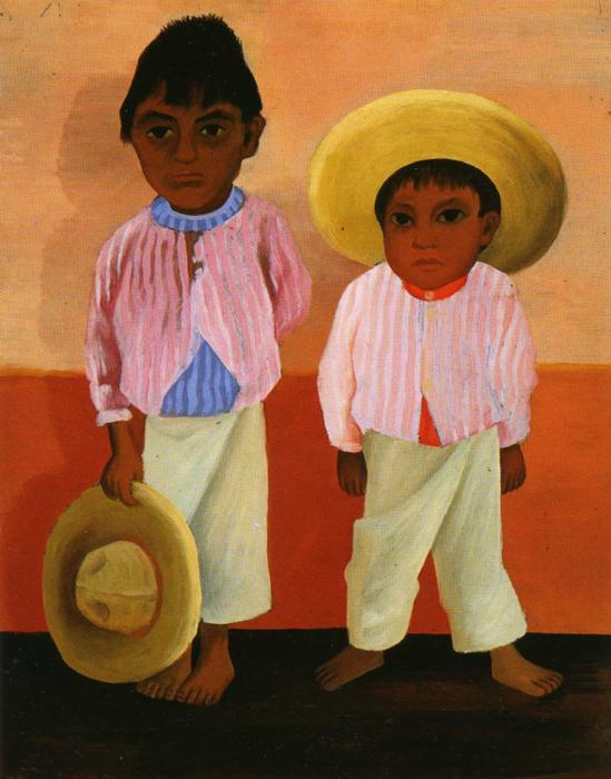 My Godfather's Sons (Portrait of Modesto and Jesus Sanchez), Oil by Diego Rivera (1886-1957, Mexico)