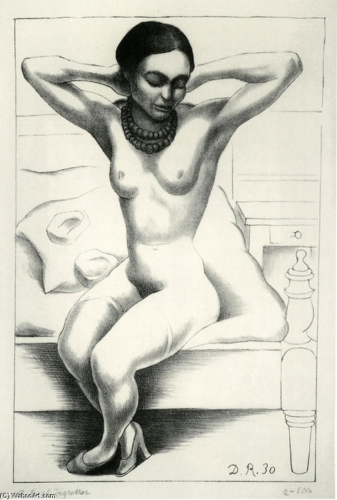 Nude With Beads (Frida Kahlo) 1, Oil by Diego Rivera (1886-1957, Mexico)