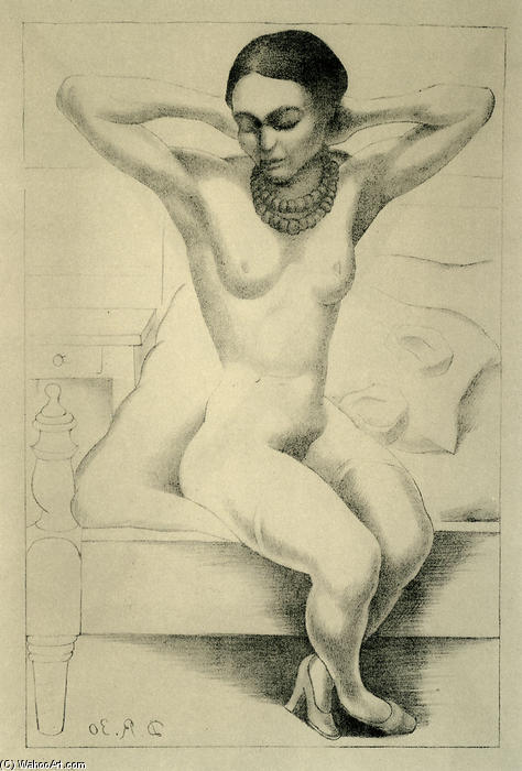 Nude With Beads (Frida Kahlo), Oil by Diego Rivera (1886-1957, Mexico)