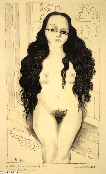 Nude with long hair (Dolores Olmedo), Oil by Diego Rivera (1886-1957, Mexico)