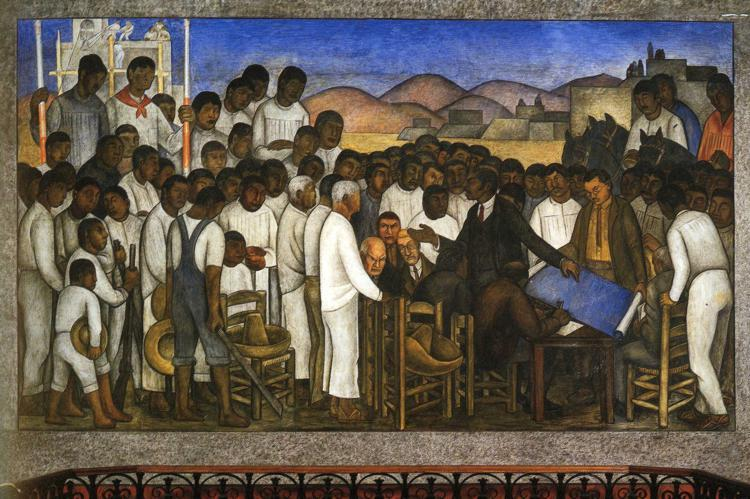 Partition of the Land, Oil by Diego Rivera (1886-1957, Mexico)
