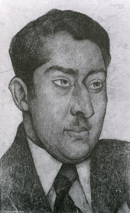 Portrait of David Alfaro Siqueiros, Oil by Diego Rivera (1886-1957, Mexico)