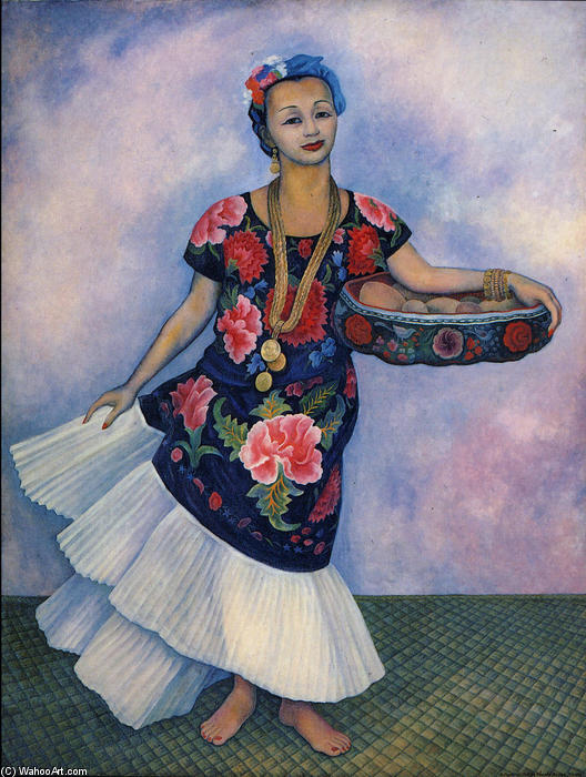 Portrait of Dolores Olmedo, Oil by Diego Rivera (1886-1957, Mexico)