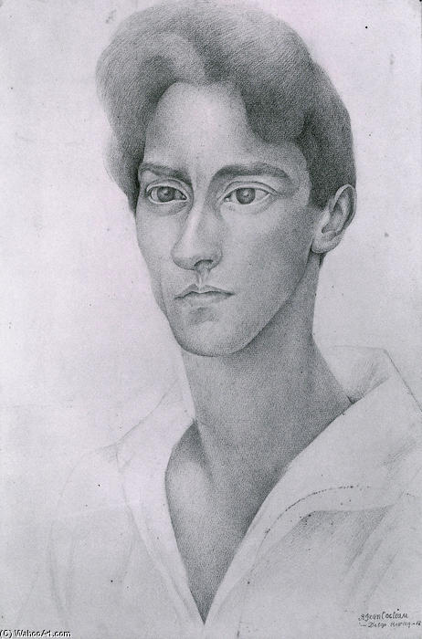 Portrait of Jean Cocteau, Oil by Diego Rivera (1886-1957, Mexico)