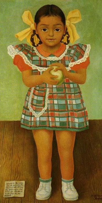 Portrait of the Young Girl Elenita Carrillo Flores, Oil On Canvas by Diego Rivera (1886-1957, Mexico)