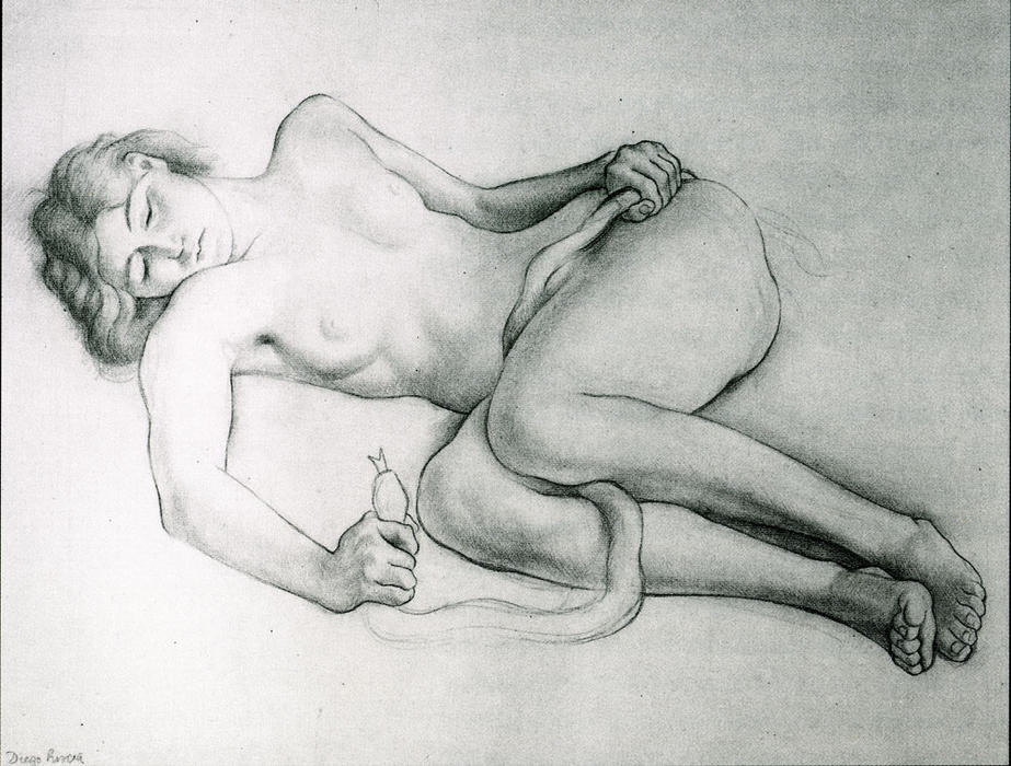 Reclining Nude with Snake, Oil by Diego Rivera (1886-1957, Mexico)