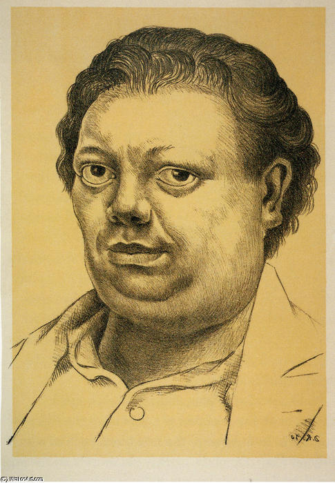 Self-Portrait 3, Oil by Diego Rivera (1886-1957, Mexico)