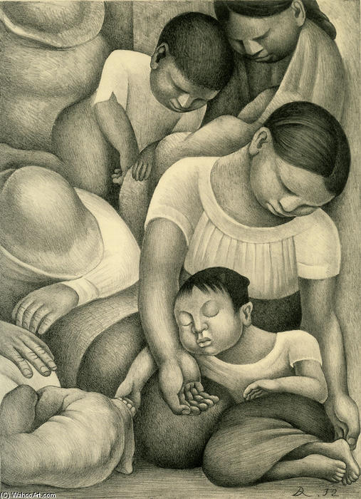Sleep, Oil by Diego Rivera (1886-1957, Mexico)