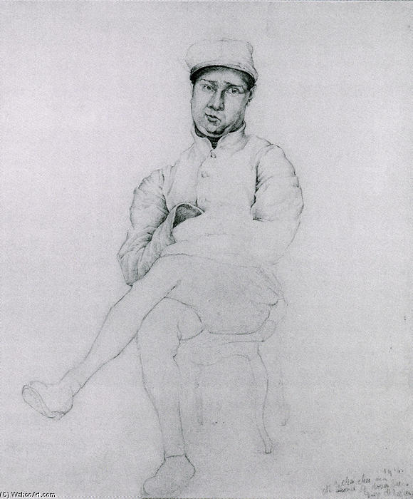 Soldier Seated, Oil by Diego Rivera (1886-1957, Mexico)