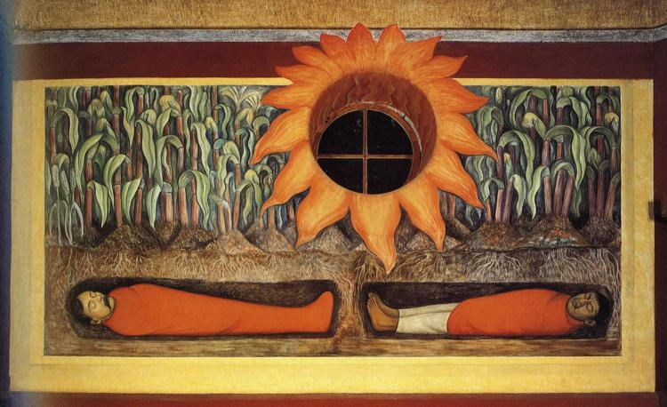 The Blood of the Revolutionary Martyrs Fertilizing the Earth by Diego Rivera (1886-1957, Mexico) | Oil Painting | ArtsDot.com