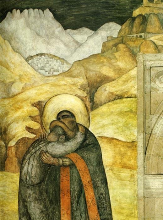The Embrace, Frescoes by Diego Rivera (1886-1957, Mexico)