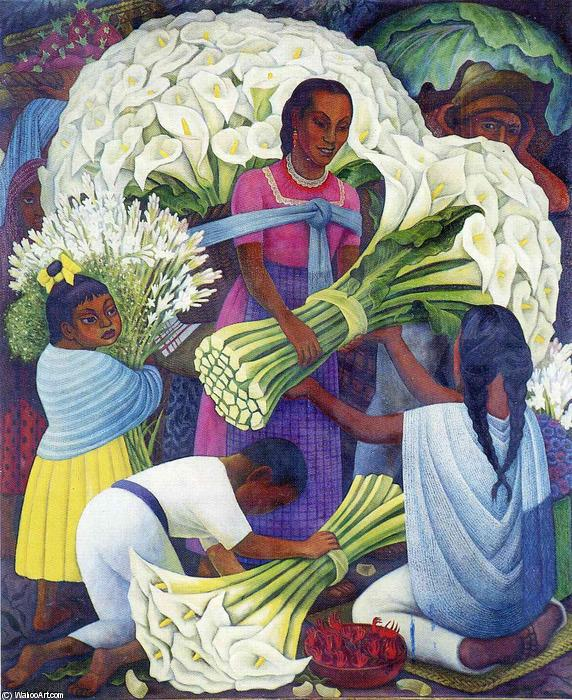 The Flower Seller, Oil by Diego Rivera (1886-1957, Mexico)