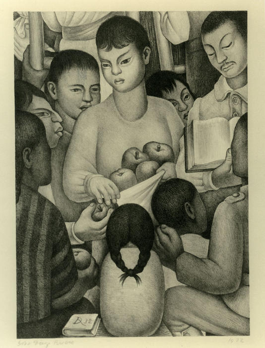 The Fruits of Labor, Oil by Diego Rivera (1886-1957, Mexico)