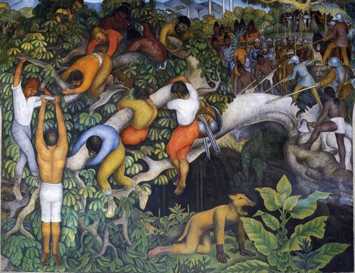 The History of Cuernavaca and Morelos - Crossing the Barranca, Oil by Diego Rivera (1886-1957, Mexico)