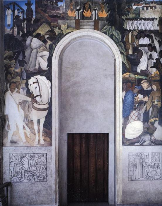 The History of Cuernavaca and Morelos - The Convertion of the Indian - Zapata's Horse, Oil by Diego Rivera (1886-1957, Mexico)