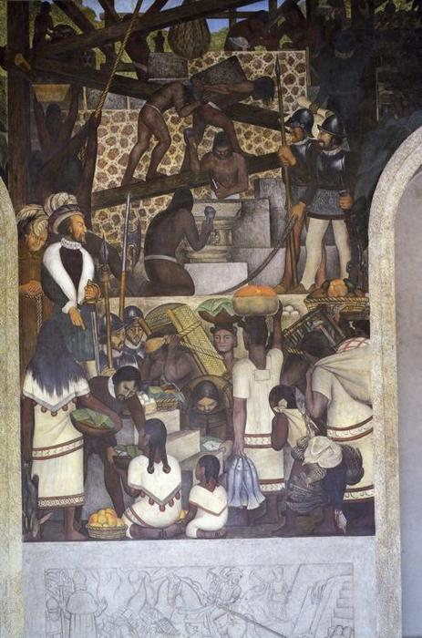 The History of Cuernavaca and Morelos - The Enslavement of the Indian and Constructiong the Cortez Palace 1, Oil by Diego Rivera (1886-1957, Mexico)