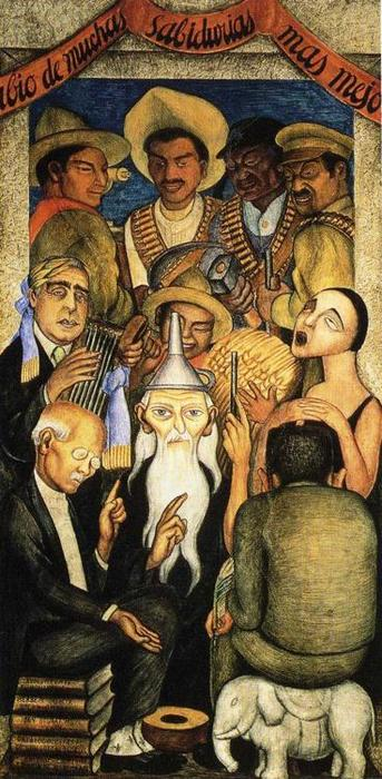 The Learned, Frescoes by Diego Rivera (1886-1957, Mexico)