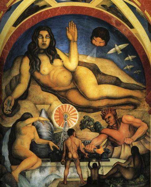The Liberated Earth with the Powers of Nature Controlled by Man, Oil by Diego Rivera (1886-1957, Mexico)