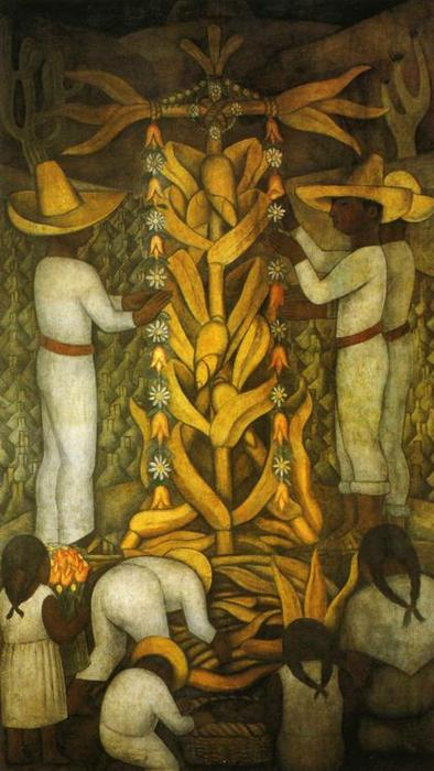 The Maize Festival, Frescoes by Diego Rivera (1886-1957, Mexico)