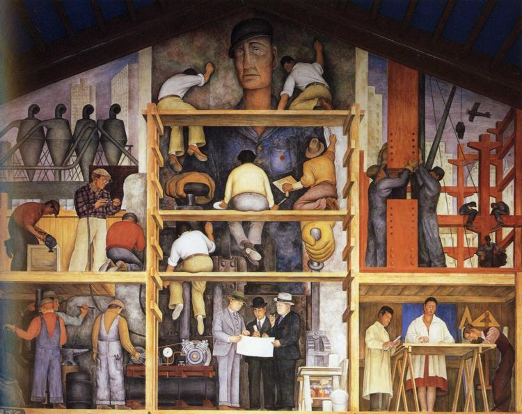 The Making of a Fresco, Showing The Building of a City, Frescoes by Diego Rivera (1886-1957, Mexico)