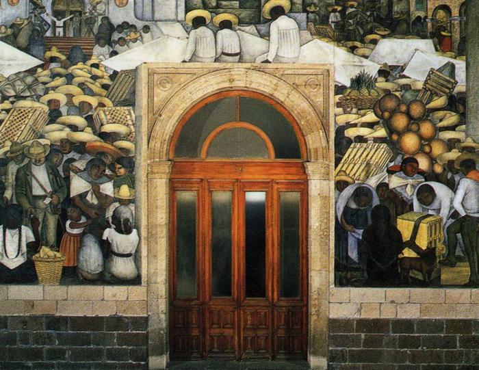 The Market, Frescoes by Diego Rivera (1886-1957, Mexico)