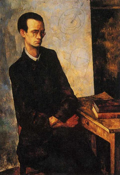 The Mathematician, Oil On Canvas by Diego Rivera (1886-1957, Mexico)