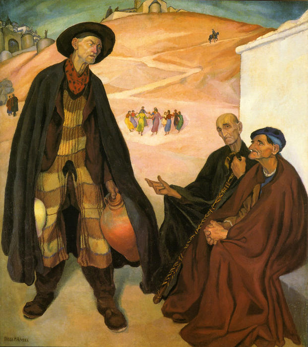 The Old Ones, Oil by Diego Rivera (1886-1957, Mexico)