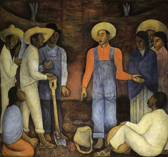 The Organization ofThe Agrarian Movement, Frescoes by Diego Rivera (1886-1957, Mexico)