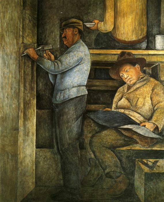 The Painter, the Sculptor and the Architect, 1928 by Diego Rivera (1886-1957, Mexico)