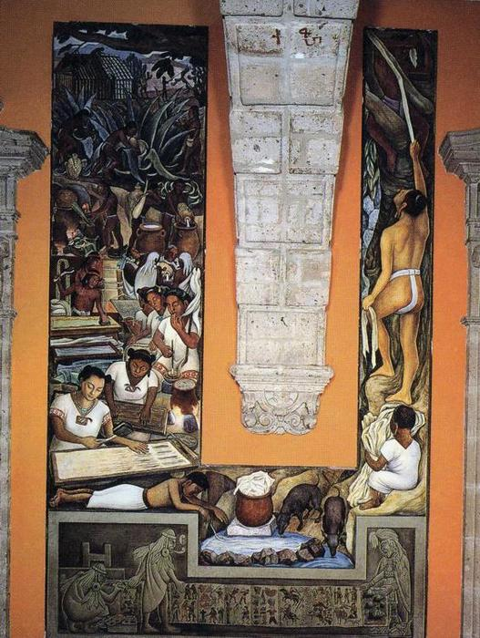 The Papermakers, Frescoes by Diego Rivera (1886-1957, Mexico)