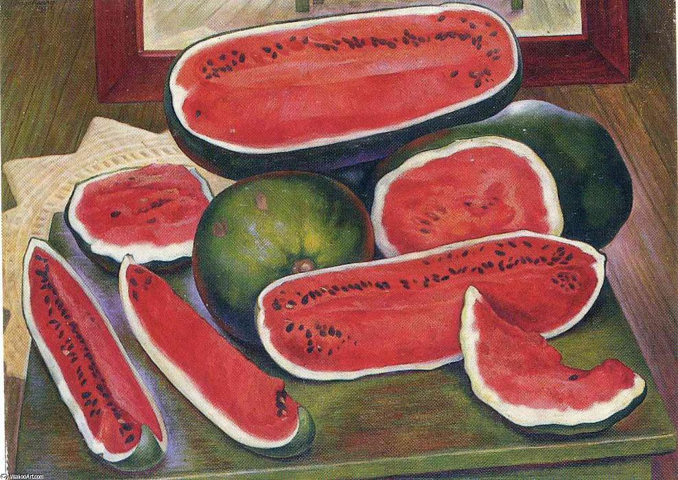 The Watermelons, Oil by Diego Rivera (1886-1957, Mexico)