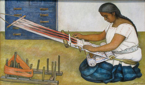 The Weaver, Oil by Diego Rivera (1886-1957, Mexico)