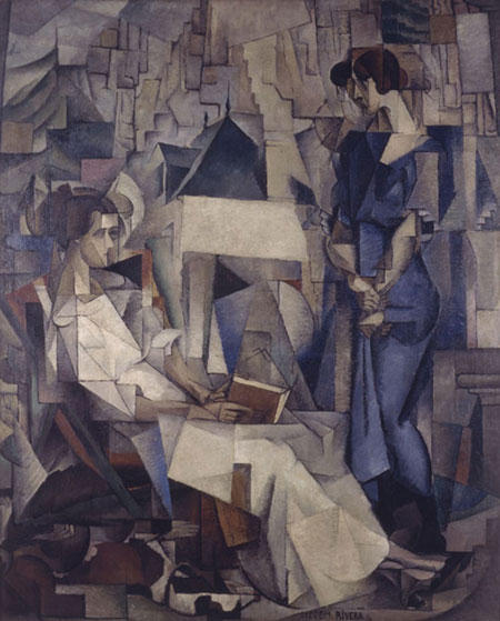 Two Women, Oil by Diego Rivera (1886-1957, Mexico)