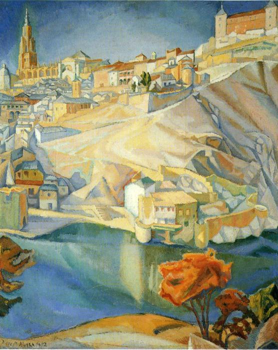 View of Toledo, Oil On Canvas by Diego Rivera (1886-1957, Mexico)