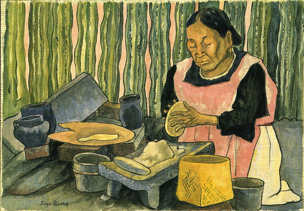 Woman Making Tortillas, Oil by Diego Rivera (1886-1957, Mexico)