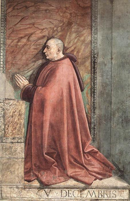 Portrait of the Donor Francesco Sassetti, Frescoes by Domenico Ghirlandaio (1449-1494, Italy)