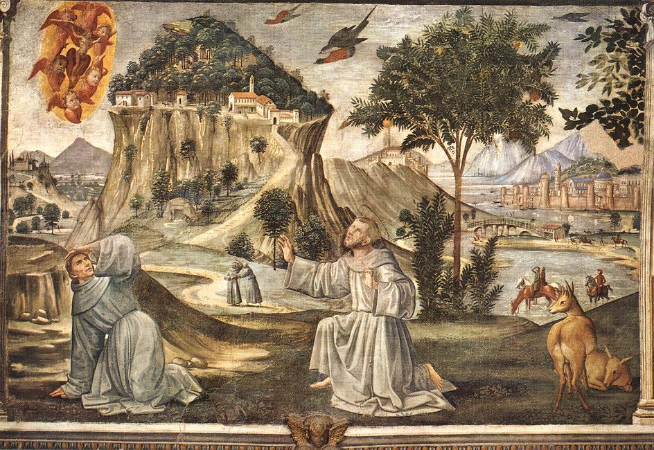 Stigmata of St Francis, Frescoes by Domenico Ghirlandaio  (buy Fine Art Art reproduction Domenico Ghirlandaio)