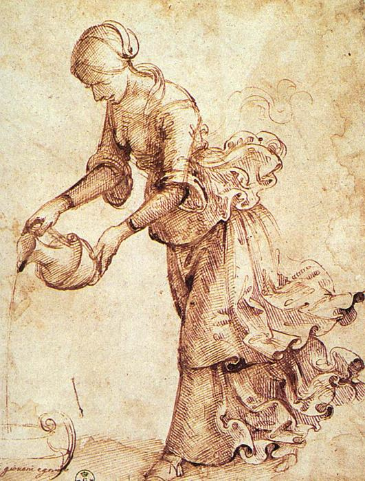 Study 1, Oil by Domenico Ghirlandaio (1449-1494, Italy)