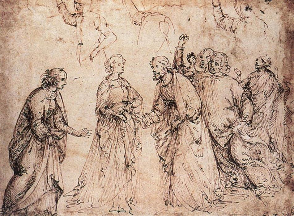 Study, Ink by Domenico Ghirlandaio (1449-1494, Italy)
