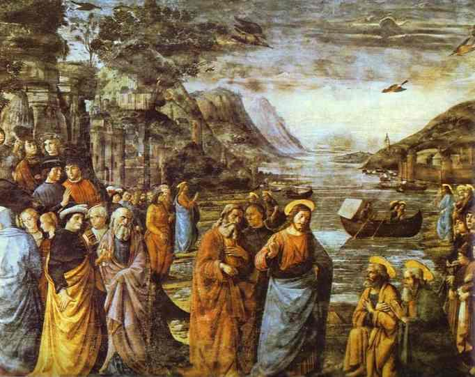The Calling of St. Peter, Frescoes by Domenico Ghirlandaio (1449-1494, Italy)