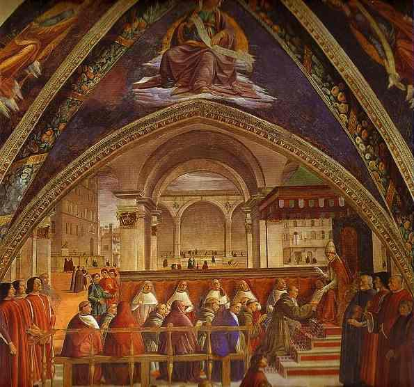 The Confirmation of the Rule of the Order of St. Francis by Pope Honorius III, Frescoes by Domenico Ghirlandaio (1449-1494, Italy)
