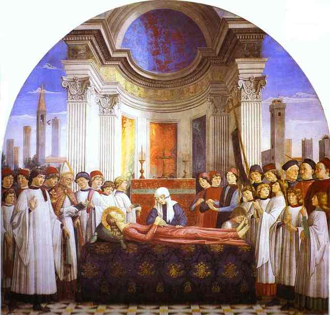 The Funeral of St. Fina, Frescoes by Domenico Ghirlandaio (1449-1494, Italy)