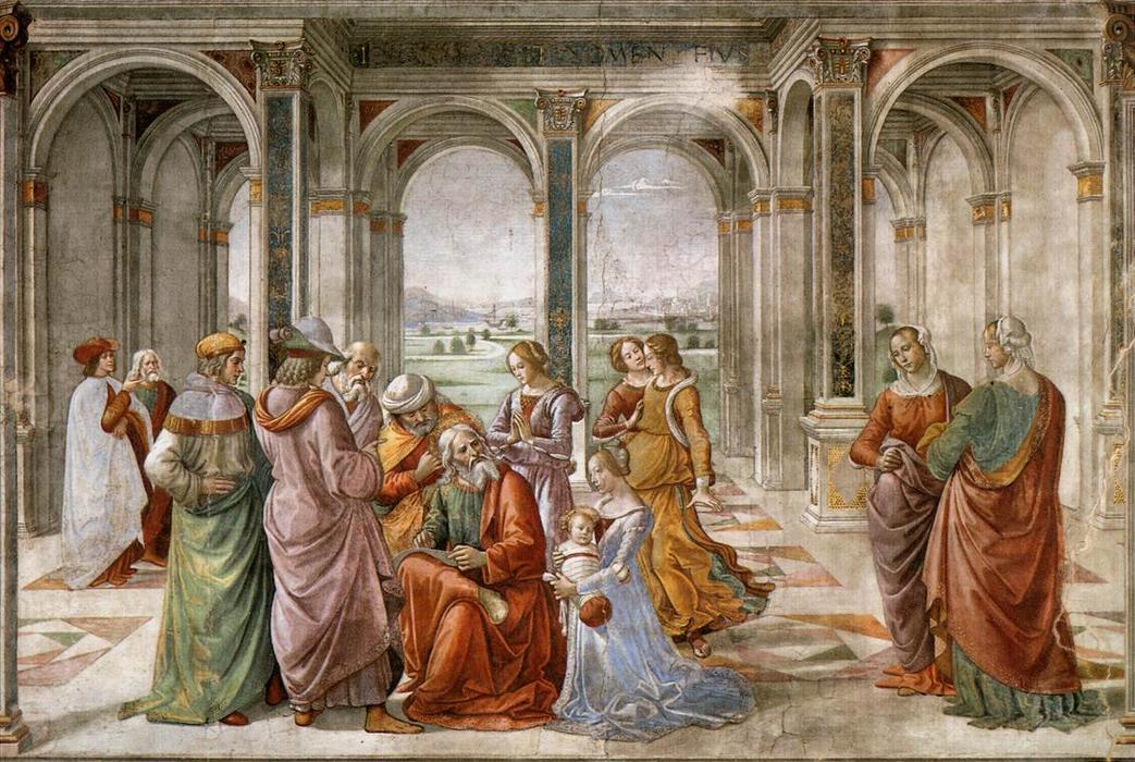 Zacharias Writes Down the Name of his Son, Frescoes by Domenico Ghirlandaio (1449-1494, Italy)