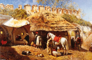 Edwin Lord Weeks - Blacksmith Shop at Tangie..