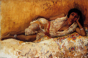 Edwin Lord Weeks - Moorish Girl Lying On A C..